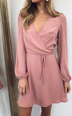 Esme Wrap Tie Waist Dress - Pink by Pretty Lavish