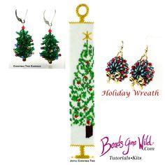 Joyful Christmas tree, Christmas tree, and Holiday Wreath beading kits from Beads Gone WIld. Christmas Tree Earrings, Christmas Ornaments, Holiday Wreaths, Holiday Decor, Earring Tree, Bead Kits, Bead Weaving, Joyful, Beading