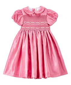 Take a look at this Pink Smocked A-Line Dress - Infant, Toddler & Girls today!
