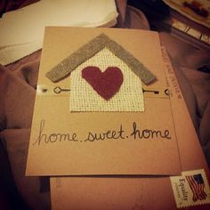Housewarming invite made with pictures of items throughout the house
