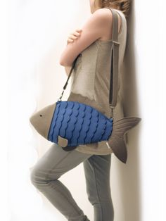 Blue Felt Fish Bag Fish Purse by krukrustudio @ragazzoagitato