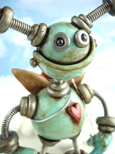 Valentine Cupid Blue Byron Rustic Robot by RobotsAreAwesome