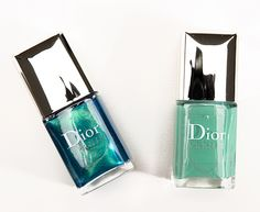 Dior Samba Summer Nail Duo ($29.00 2 x 0.23 fl. oz.) contains two miniature-sized polishes from Dior's summer collection, Bird of Paradise. They look just like Dior's full-size polishes in exterior packaging, but they have a regular brush (compared to their wider, more tapered brush) that is wider than a normal brush, but it is not tapered.
