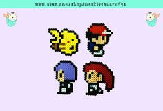 Pokemon Character Perler Magnets and Necklaces! Ash - Pikachu - Jesse - James