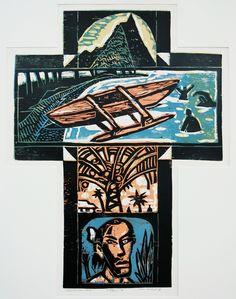 Nigel Brown Rarotongan Cross (1994) Coloured woodcut  900 x 700mm