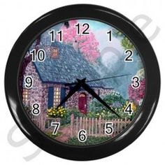 Essex House Cottage by Ave Hurley - Wall Clock (Black) auction (Auction ID: 2618316, End Time : September. 14, 2014 13:07:39) - WeBidz Online Auctions