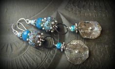 Ancient Roman Glass, Lampwork Glass, Czech Glass, Earthy, Ethereal, Primitive, Organic, Rustic, Silver, Hoop, Beaded Earrings by YuccaBloom on Etsy