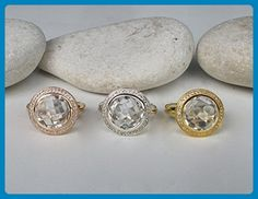 White Topaz Engagement Ring- Rose Gold Promise Ring- Classic Halo Alternative Ring- Nontraditional Engagement Ring- April Birthstone Ring - Wedding and engagement rings (*Amazon Partner-Link)