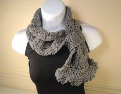 Gray Heather Crochet Cowl Scarf Neck Warmer No by VillaYarnDesigns, $26.00