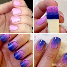 Ombré purple and pink nail tutorial