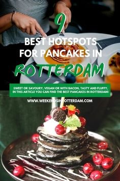 If you're looking for the best fluffy pancakes in Rotterdam you should read this article! It includes 9 amazing hotspots in Rotterdam that all serve amazing pancakes both savoury and sweet! Vegan Banana Pancakes, Nutella Pancakes, Savory Pancakes, Fluffy Pancakes, Types Of Pancakes, Breakfast Diner, Homemade Caramel Sauce, Healthy Breakfast Options, Pitaya
