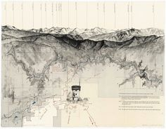 In Matthew Rangel's art, landscape and map literally blur together. Rangel draws on his travels and combines mountain ranges, text, drawings and other imagery with cartography, sometimes drawn on o… Architecture Mapping, Architecture Graphics, Architecture Drawings, Architecture Photo, Landscape And Urbanism, Landscape Drawings, Bel Art, Map Diagram, Map Design