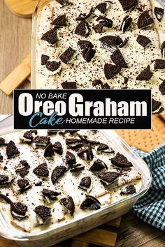 Oreo Graham Cake - No Bake Cake ( 4 Ingredients Recipe ) How To Make Oreo Cake or Oreo Graham Cake No Bake Recipe. Oreo Graham Cake is Made of 4 Ingredients: Graham Crackers, Oreo Cookies, All Purpose Cream and Condensed Milk. A Simple Cake Recipes for any Occasions. #Oreograhamcake #oreocake #nobakecake Easy To Make Desserts, Easy Cake Recipes, Baking Recipes, Desserts Menu, No Bake Desserts, Dessert Recipes, Oreo Cake, Oreo Cookies, Graham Cake