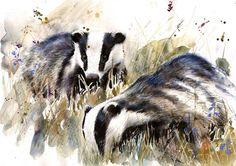 Saatchi Online Artist Lucy Newton; Mixed Media, Badgers #art
