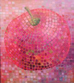 mozaic apple,  painting,original oil,on canvas