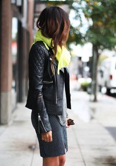 Quilted leather jackets, scarf and mini skirt.