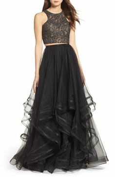 La Femme Embellished Lace Two-Piece Gown