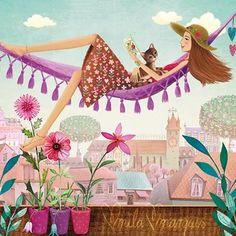 Square card by Mila Marquis par MarquisWonderland sur Etsy Art And Illustration, Illustration Mignonne, Illustrations, Art Fantaisiste, Art Mignon, Art Carte, Buch Design, Square Card, Marquis