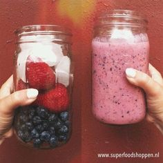 Start your day with:  Fresh strawberries ( or frozen strawberries) Blue berries Coconut juice ( biological ) & shaved coconut  Chia seeds Wheatgrass  ENJOY your morning smoothie!