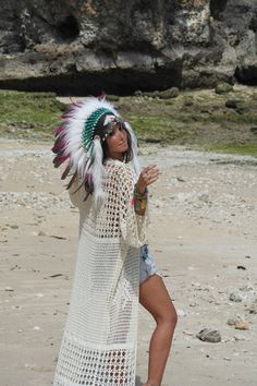 MTO Turquoise or Pink & Spotted Feather Headdress Hippie Beach Wedding | Paradise Gypsies