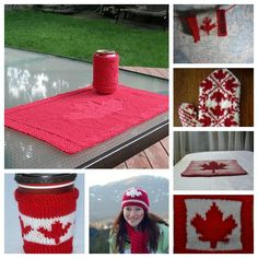Lest you think we'd forget our cousins to the north (here in America, anyway), I thought it would be good to collect some fun knitting patterns to celebrate Canada Day. Or hockey season. Knitting Blogs, Free Knitting, Knitting Projects, Dishcloth Knitting Patterns, Crochet Patterns, Knit Crochet, Crochet Hats, Hockey Season, Canada Day