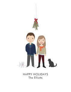 Personalized Christmas Card Mistletoe for couple - DIY Printable. $25.00, via Etsy.
