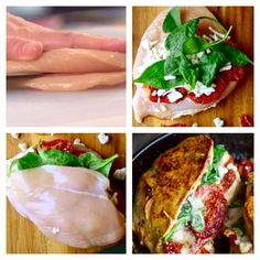 Fyldte Kyllingebryster | Kreamors Køkken Food N, Good Food, Food And Drink, Yummy Food, Snack Recipes, Dinner Recipes, No Sugar Diet, Dessert Drinks, Food Hacks