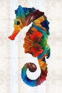 Caballito de mar colorido pez arte Animal Print de pintura Tropical primaria colores playa abstracto lienzo Mar océano Beachy isla grande decoración