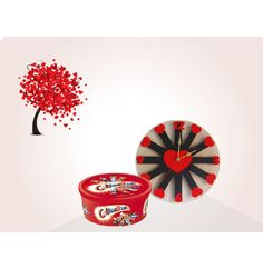 Chocolate and Roses Wall Clock Combo Gift