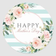 Pretty Floral Wreath Happy Mother's Day Classic Round Sticker   Zazzle.com Mothers Day Ecards, Mothers Day Text, Mothers Day Classic, Happy Mothers Day, Pink Flower Bouquet, Floral Flowers, Floral Wreath, Homemade Mothers Day Gifts, Mother Gifts