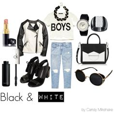 """black&white street style"" by candy-pinkmilkshake on Polyvore"