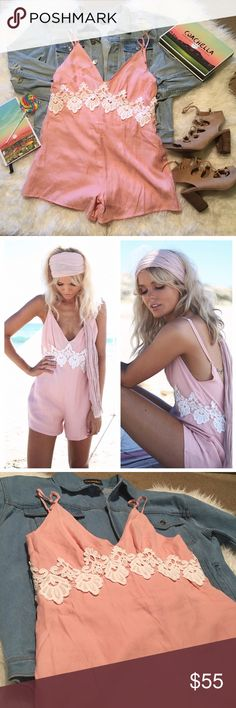 🎉HP🎉NWT Sabo Skirt Clara Playsuit FESTIVAL READY 🎉HOST PICK🎉SUNDAY FUNDAY🎉4/2/17🎉  🚨If you see an item in the styled pictures that you like, it's probably for sale in my closet🚨 SOLD OUT @ Sabo Skirt! The Clara Playsuit in Rose is a must have if you love day-to-day basics with flare. This playsuit is made from soft fabric in a pink hue and features contrast white lace panelling along the waistline. Super low back, adjustable straps and a plunge neckline at the front. Pair it with…