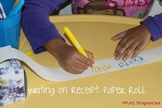 Try receipt paper roll to encourage writing.