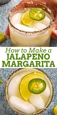 Easy Jalapeno Margarita Recipe, Tequila Recipe, Jalapeno Recipes, Margarita Recipes, Spicy Recipes, Agave Margarita Recipe, Peach Margarita, Cocktail Recipes, Yummy Recipes