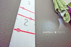 Growth Chart, love this cute, cheap, DIY idea!