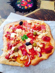Wholemeal spelt base with olive,feta,tomato,red onion and chorizo