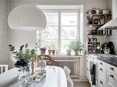 White kitchen interior.