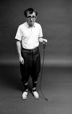 Woody Allen walking his pet ant, 1964. Photo by Steve Schapiro.