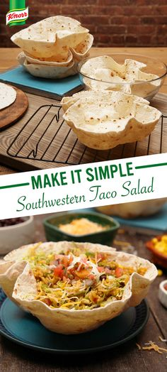 Looking for the best homemade taco salad recipe? Try Knorr's Southwestern Taco Salad! 1. Make tortillas in microwave-safe bowls 2. Cook Knorr® Spanish Rice™, black beans and corn 3. Arrange lettuce, rice mixture, and cheese in tortillas 4. Add your favorite toppings (chopped tomato, avocado, salsa, sour cream, and fresh cilantro).
