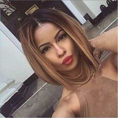 Synthetic Wigs for Women Sale Ombre Brown Hair Short Straight Bob Cut Wig Synthetic Ombre Wigs Short Straight Hair