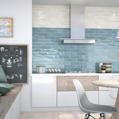 A timeless collection of Spanish made wall tiles in a versatile size. Perfect for modern spaces. Blue Kitchen Tiles, Blue Backsplash, Blue Tiles, Elegant Kitchens, Himmelblau, Wall And Floor Tiles, Modern Spaces, Interiores Design, Kitchen Interior
