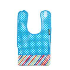 Babero plastificado de topos azul turquesa y bolsillo a rayas. #baberos #kiwisac