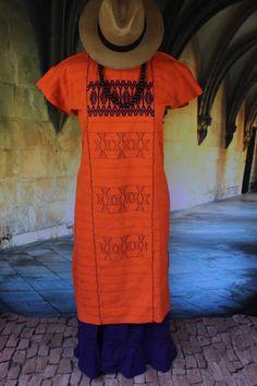 Orange & Purple Huipil Mixe Cotzocon weavers Oaxaca Mexico Boho Hippie Santa…