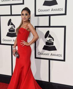 Ariana Grande in a Romona Keveza dress and Jimmy Choo bag. 2016 Grammys