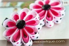 Hot Pink Rebel Ribbon Flower Hair Clips.