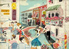 Illustration by Luciano Lozano Pinturas Art Deco, Art Deco Paintings, Springtime In Paris, City Painting, Postcard Art, Spanish Artists, Travel Illustration, Travel Posters, Vintage Posters
