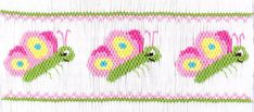 Smocking plate with butterflies. 8 rows of smocking on a yoke. Smocking Plates, Smocking Patterns, Beading Patterns, Smocked Baby Clothes, Girls Smocked Dresses, Smocked Clothing, Punto Smok, Smocking Tutorial, Farmhouse Fabric
