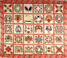 Baltimore Album Quilt presented to Joshua Young in Mariners' Museum in Newport News, Virginia Antique Quilts, Vintage Quilts, Sampler Quilts, Appliqué Quilts, Applique, Flower Quilts, Quilt Patterns Free, Quilt Cover, Quilt Making