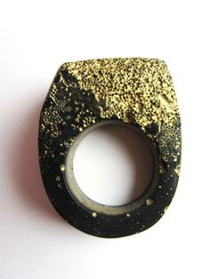 Hewn Black and Gold Caviar, Ring by Jade Mellor, UK. Caviar beading, resin.   not just a label.com