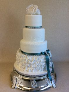 Helsia, 4 tier cake with ruffle bottom tier and hand piped lace detail Bling Wedding Cakes, Pretty Birthday Cakes, Buttercream Wedding Cake, Tier Cake, Holiday Cakes, Gorgeous Cakes, Celebration Cakes, Scarfs, Cookie Decorating